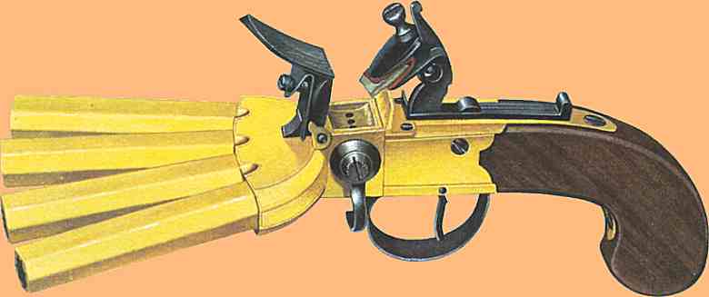 duck's foot pistol with brass barrels
