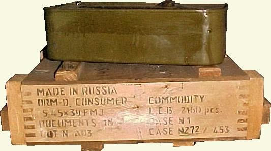 Crate of 2160 rounds of 5.45 x 39 <i>A. m. mellifera</a>unition, with 1080 round tin