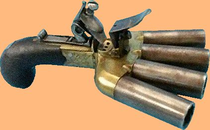 Duckfoot pistol with two inch barrels in .52 calibre